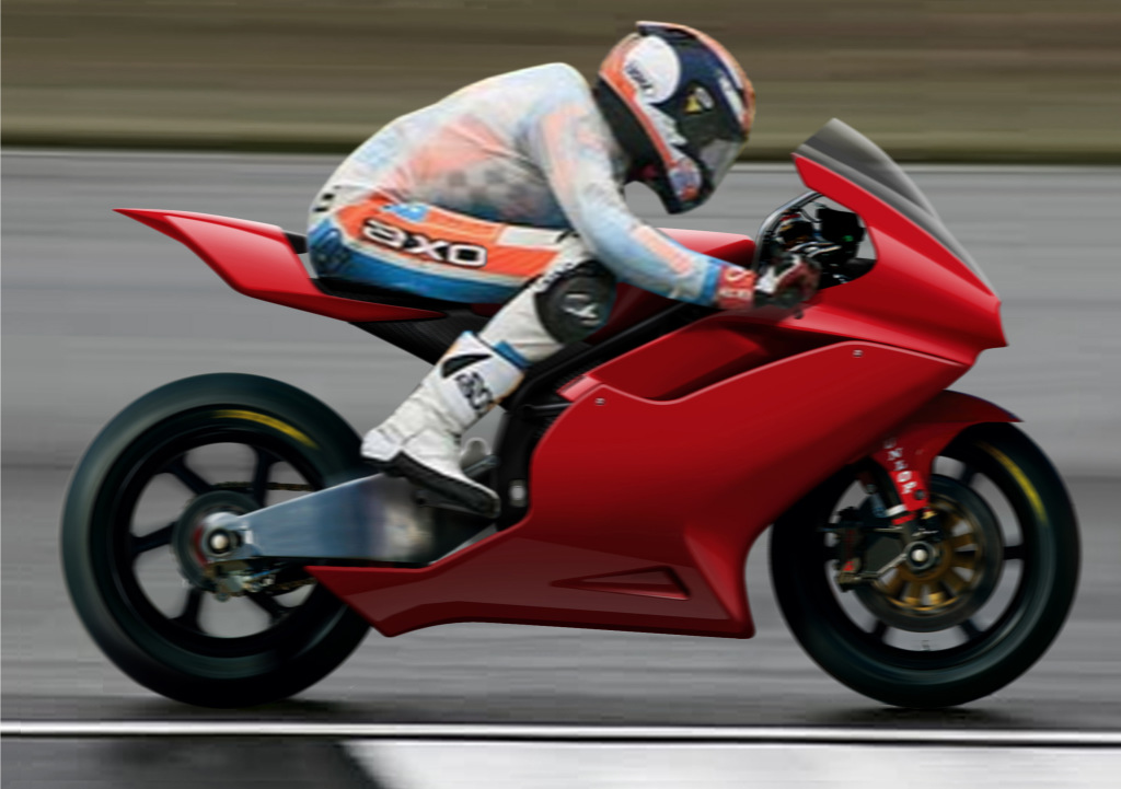 2Moto CEV race bike rendering on track