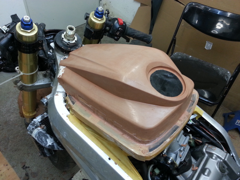 Lower half of airbox lid is finished with the bodywork removed