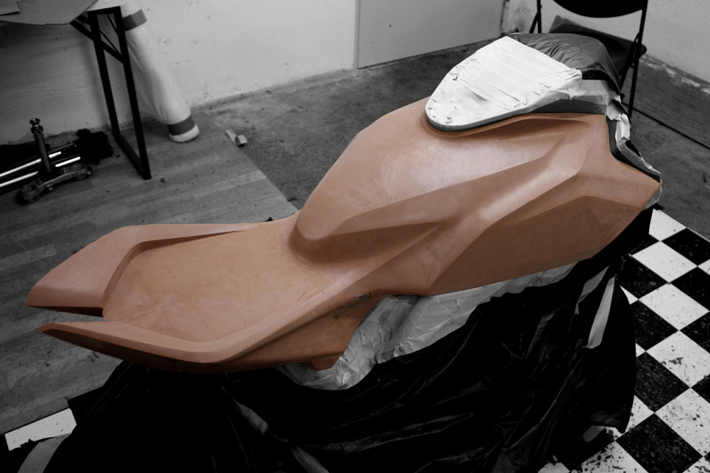 Custom Suzuki SV650 clay model ready for moulding