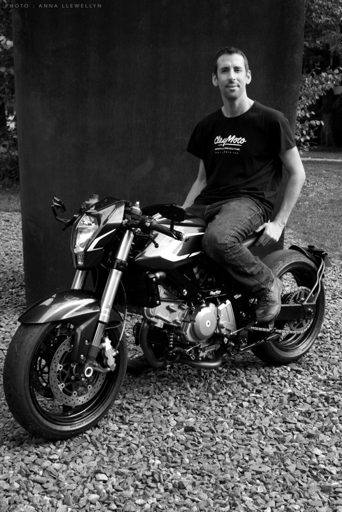 Creator Nick Graveley with the Claymoto SV650