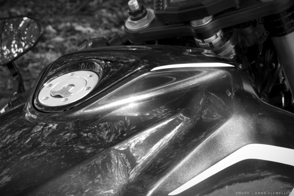 SV650 airbox lid and Newton Equipment fuel filler cap detail