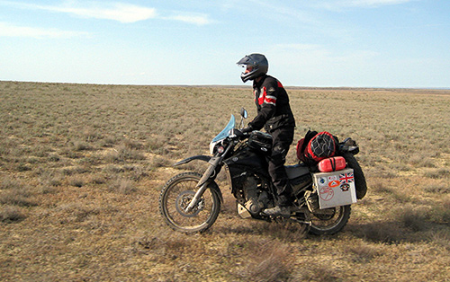 Nick in Kazakhstan riding to New Zealand